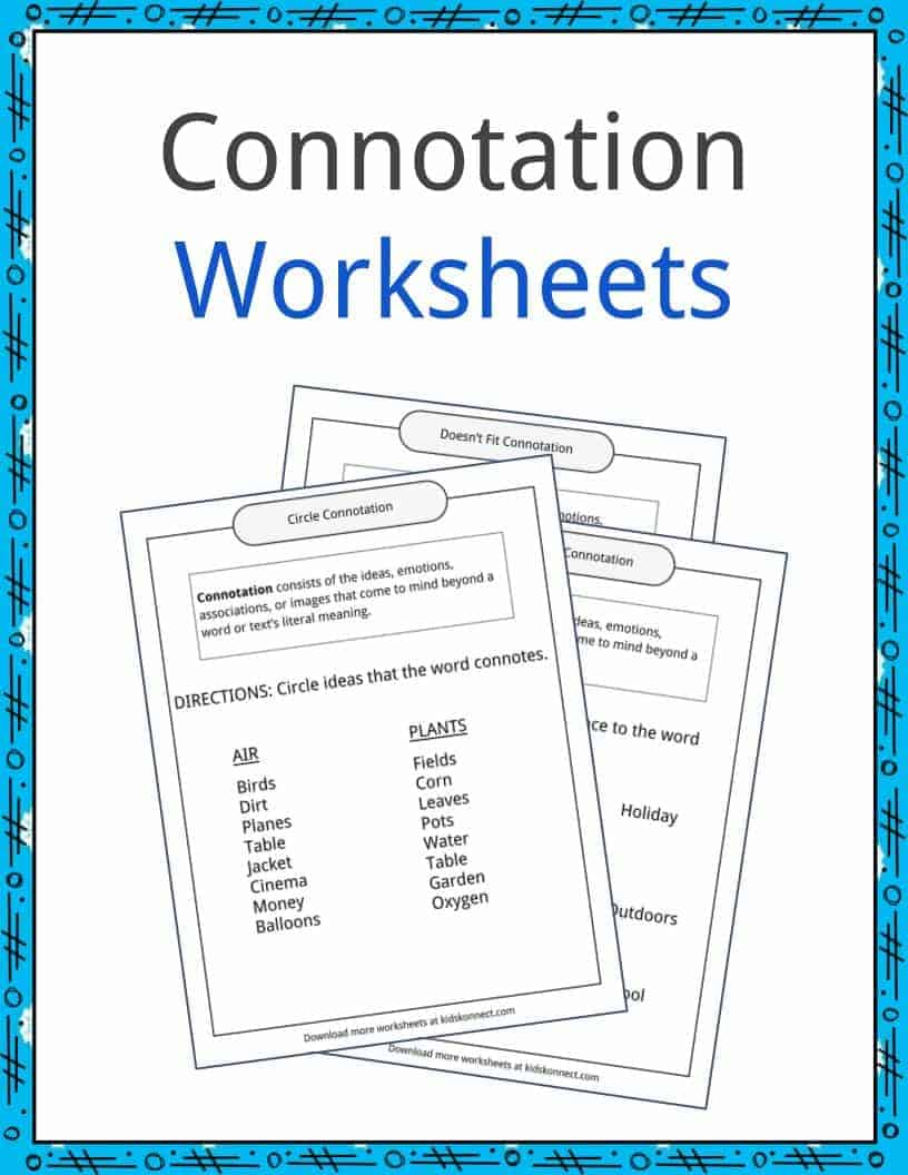 worksheet Connotation Worksheet connotation examples definition and worksheets kidskonnect download the worksheets