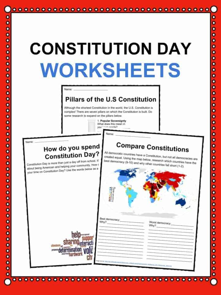 Constitution Day Citizens Day Facts Worksheets