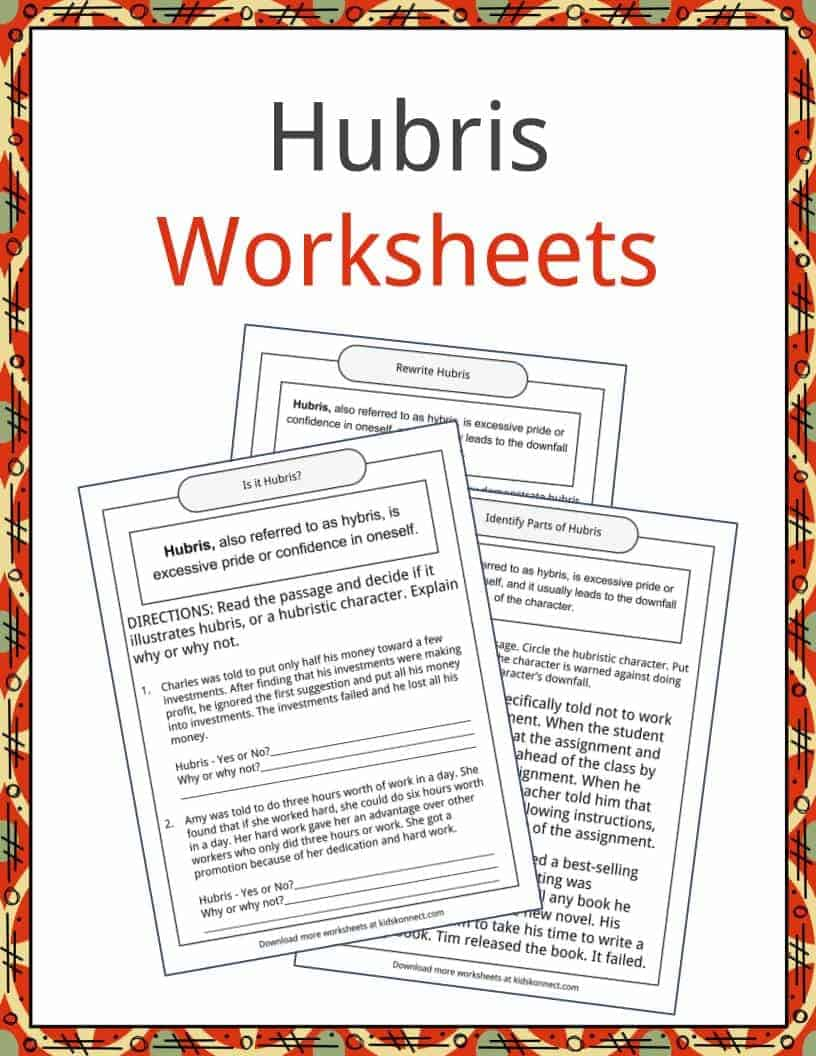 Hubris Examples, Definition and Worksheets | KidsKonnect