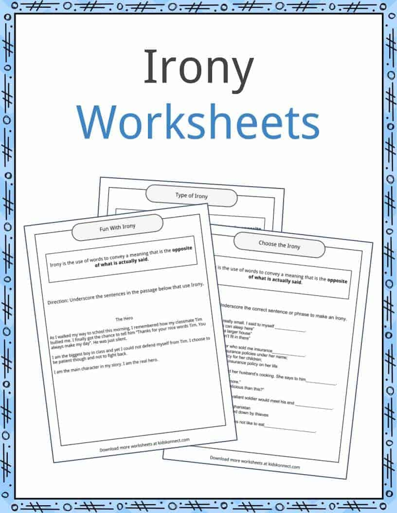 irony examples, definition and worksheets | kidskonnect