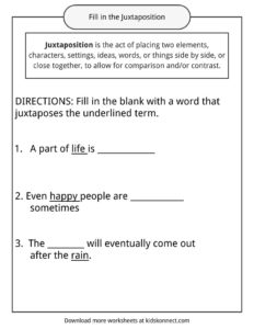 Juxtaposition Examples, Definition and Worksheets | KidsKonnect