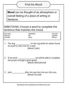 tone vs mood worksheet the large and most comprehensive worksheets. Black Bedroom Furniture Sets. Home Design Ideas