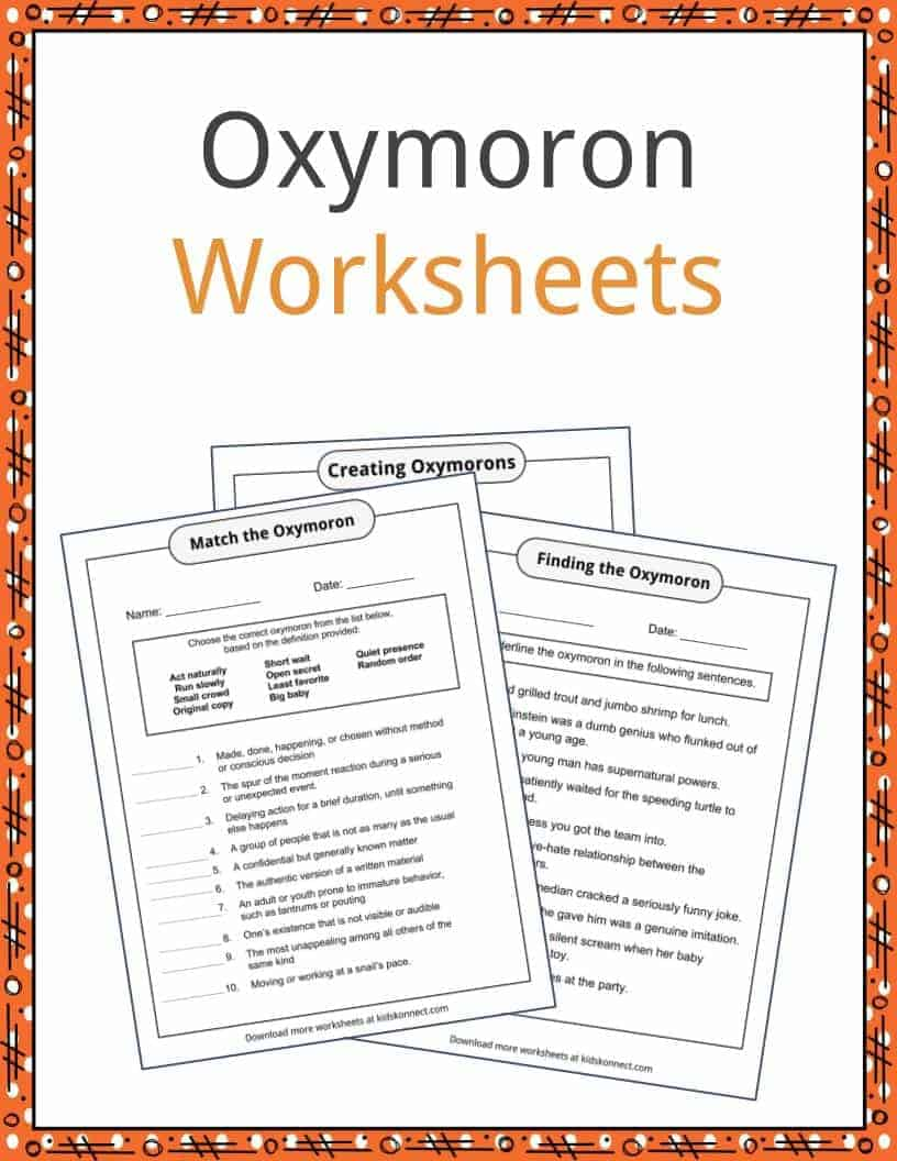 worksheet Oxymoron Worksheet oxymoron examples definitions and worksheets kidskonnect download the worksheets