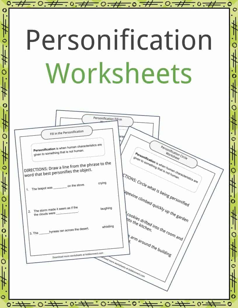 worksheet And Worksheets personification examples definition and worksheets kidskonnect download the worksheets