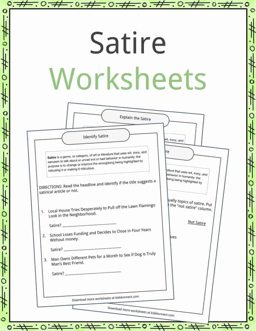 free download satire worksheet. Black Bedroom Furniture Sets. Home Design Ideas