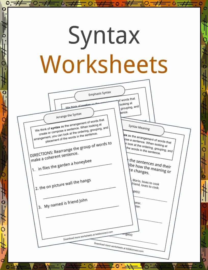 Syntax Examples Definition and Worksheets – Syntax Worksheets