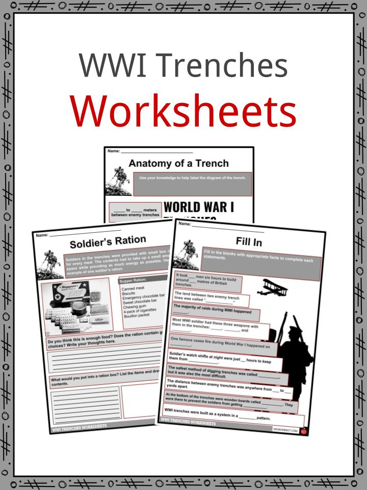 picture about Free Printable World War 1 Worksheets referred to as World-wide War I Trench Information and facts, Worksheets Everyday living within Trenches For Youngsters