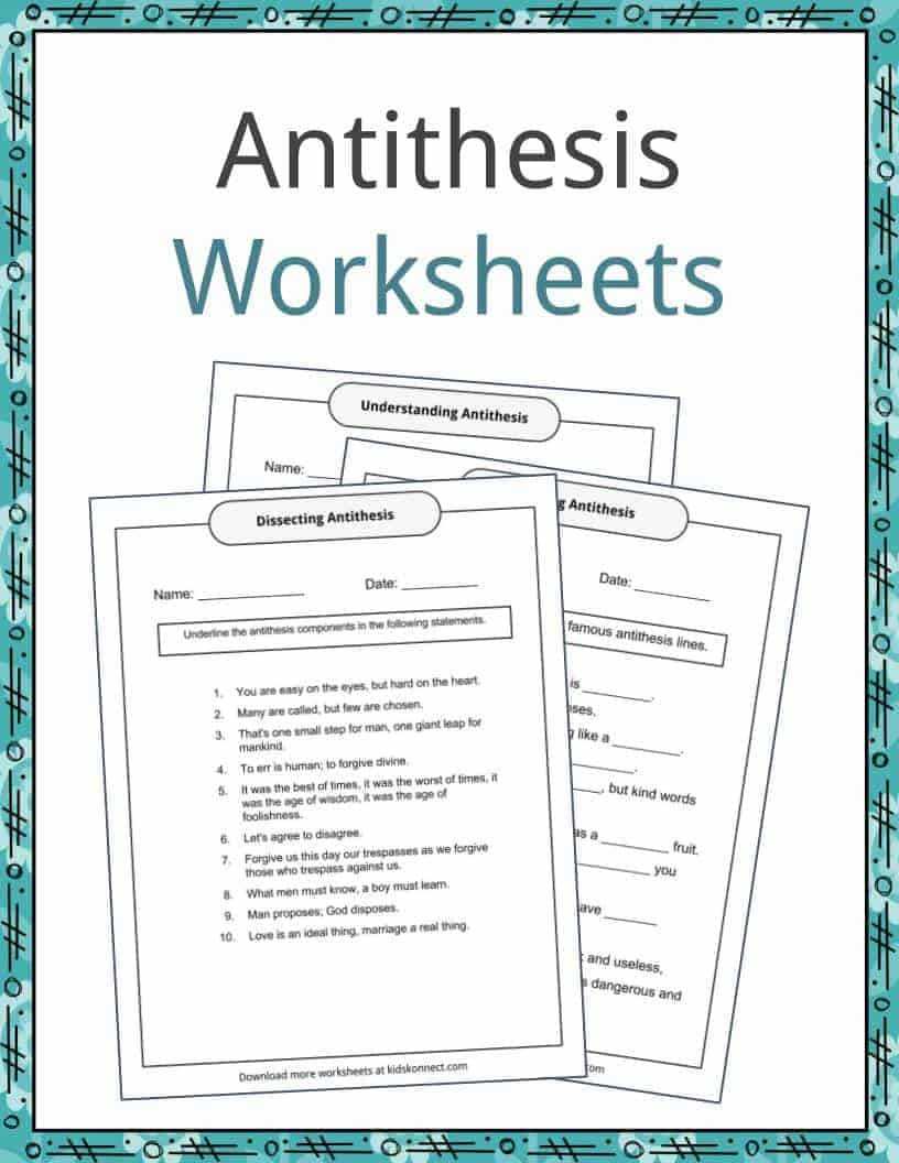 Antithesis Examples Definition and Worksheets