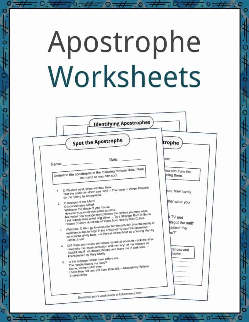 Apostrophe Examples, Definition and Worksheets | KidsKonnect