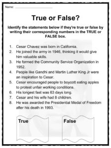 Cesar chavez facts worksheets information for kids
