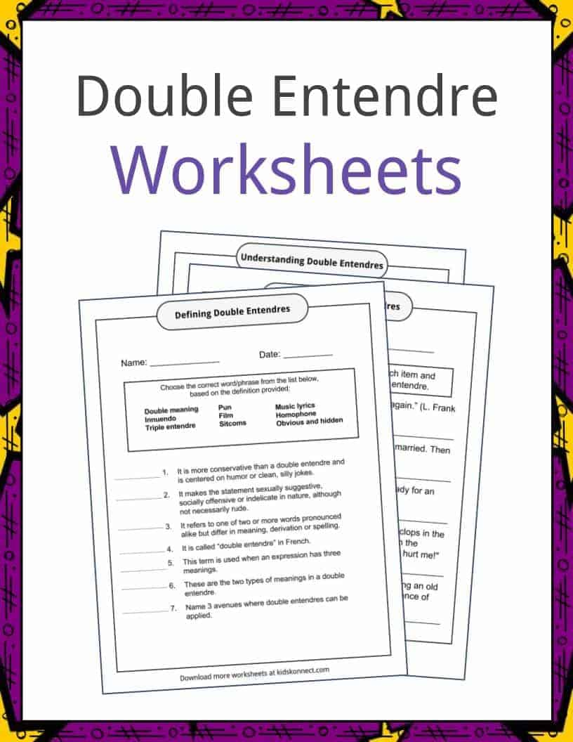 Workbooks shakespeare worksheets : Double Entendre Examples, Definition and Worksheets   KidsKonnect