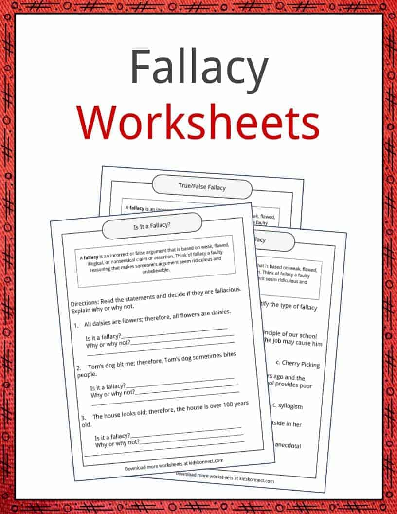 Fallacy Examples Definition and Worksheets – Fallacies Worksheet