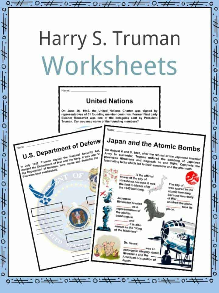 Harry S. Truman Worksheets