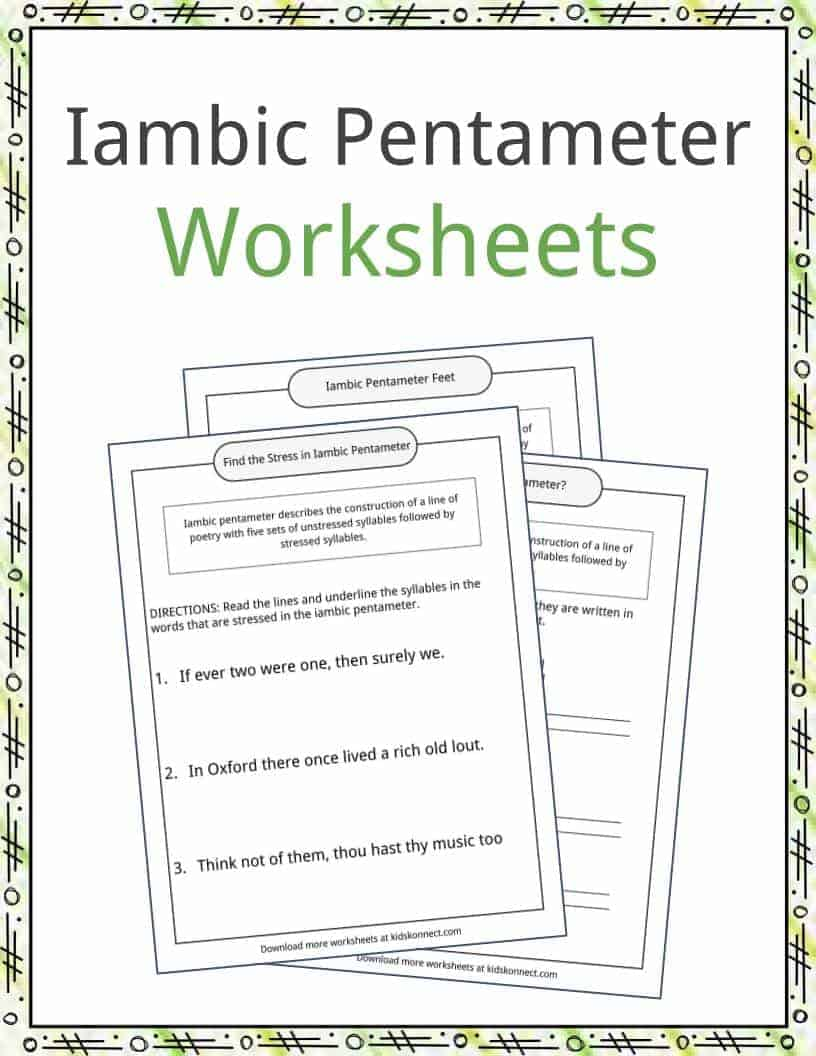 iambic pentameter worksheet geersc. Black Bedroom Furniture Sets. Home Design Ideas