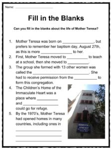 Mother Teresa Facts, Worksheets & Charity Work Information For Kids