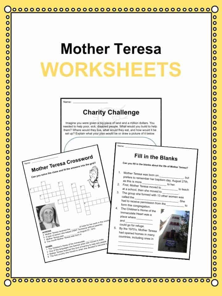 Mother Teresa Worksheets