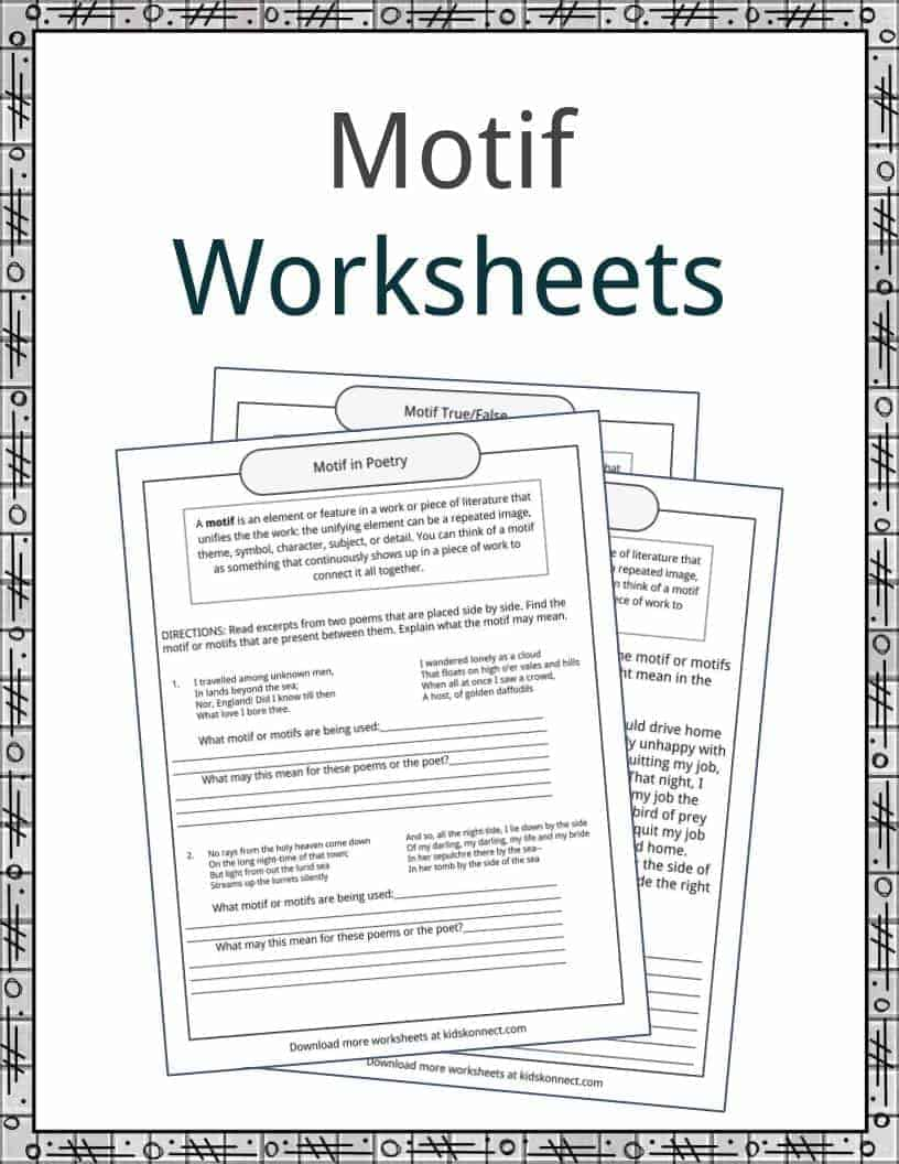 Worksheets American Literature Worksheets motif examples definition and worksheets kidskonnect download the worksheets