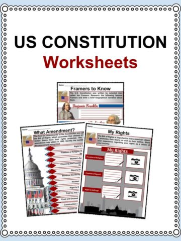 US Constitution Worksheets