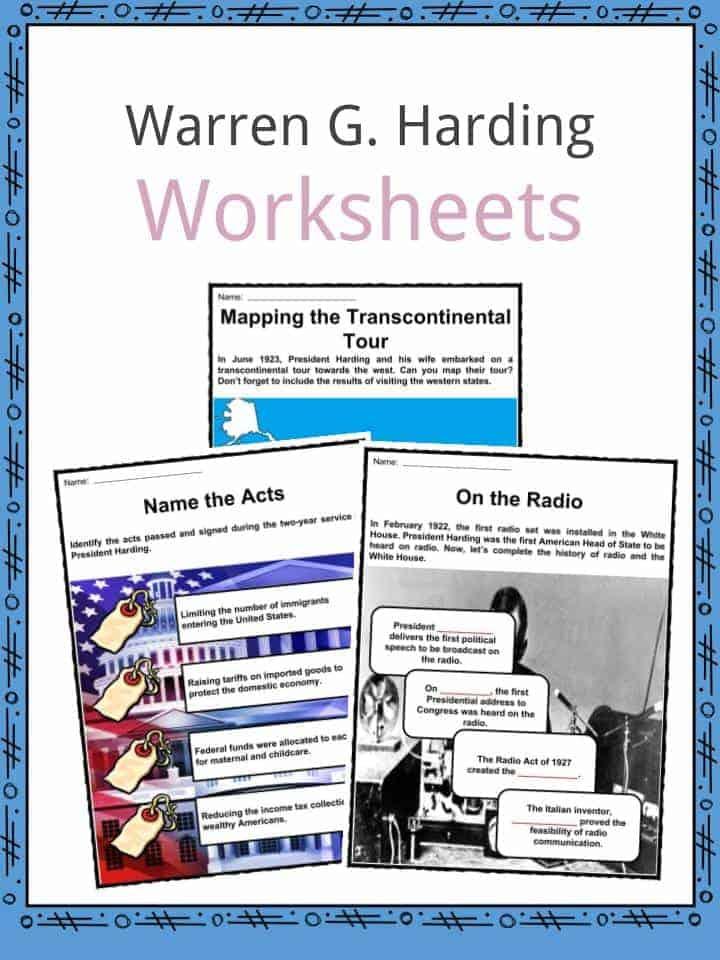 Warren G. Harding Worksheets