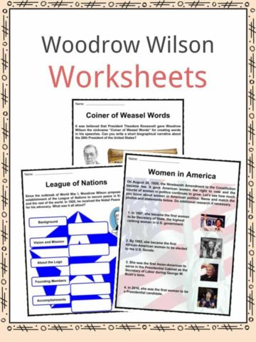 Woodrow Wilson Worksheets