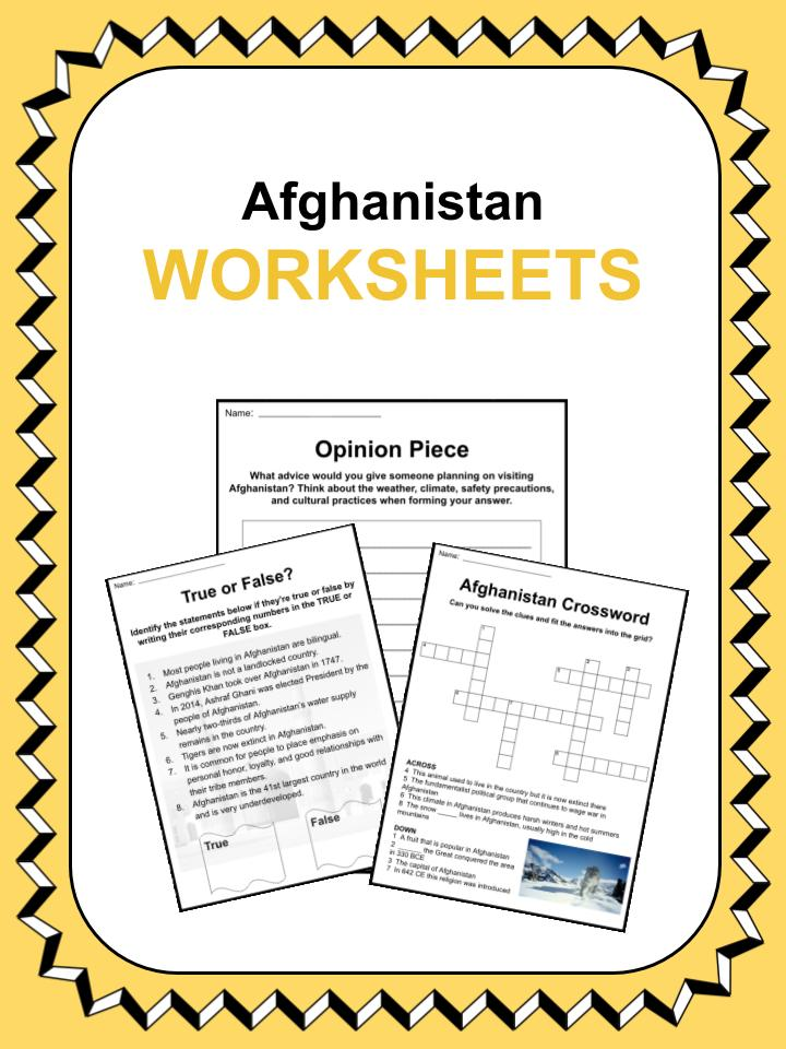 Afghanistan Worksheets