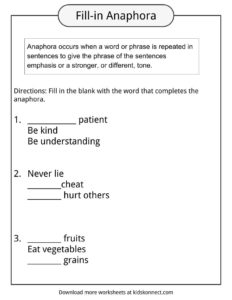 anaphora examples definition worksheets for kids