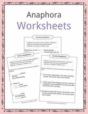 Anaphora Worksheets