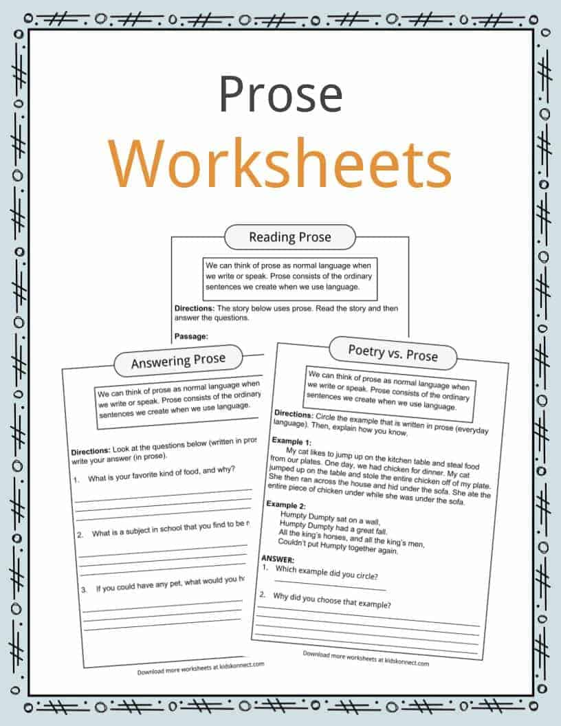 Prose Reading & Answering Examples, Definition & Worksheets For Kids