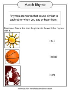 rhyme examples worksheets definition for kids