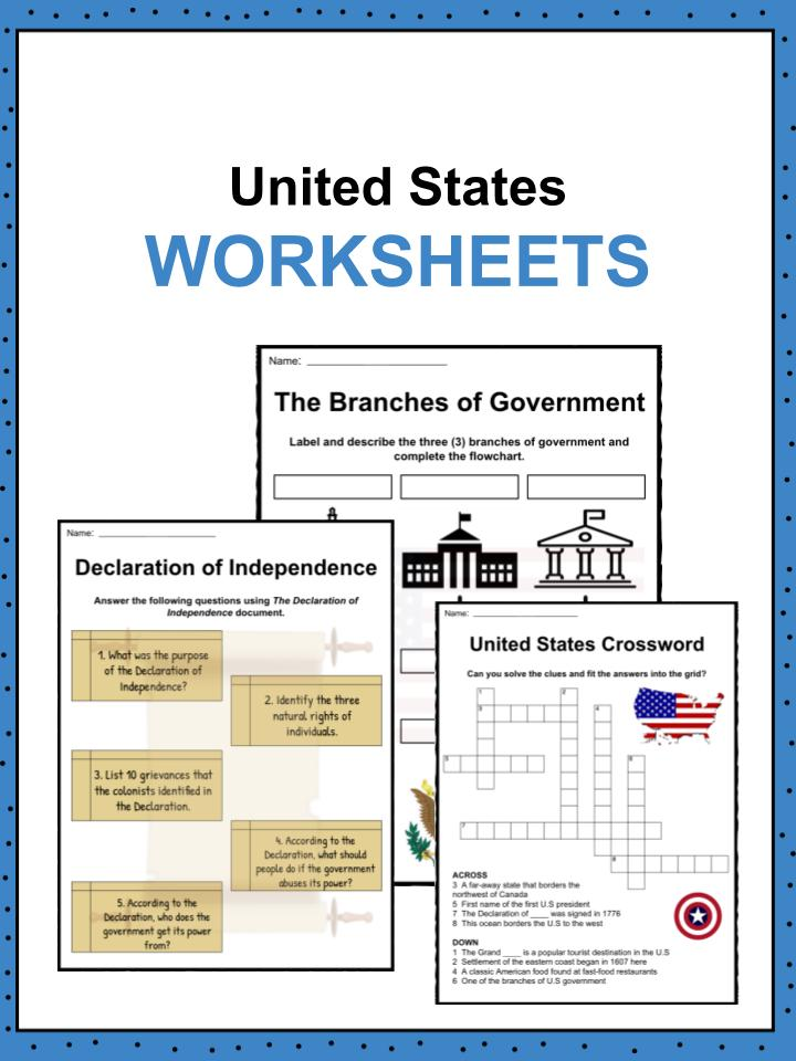 United States Facts Worksheets History For Kids