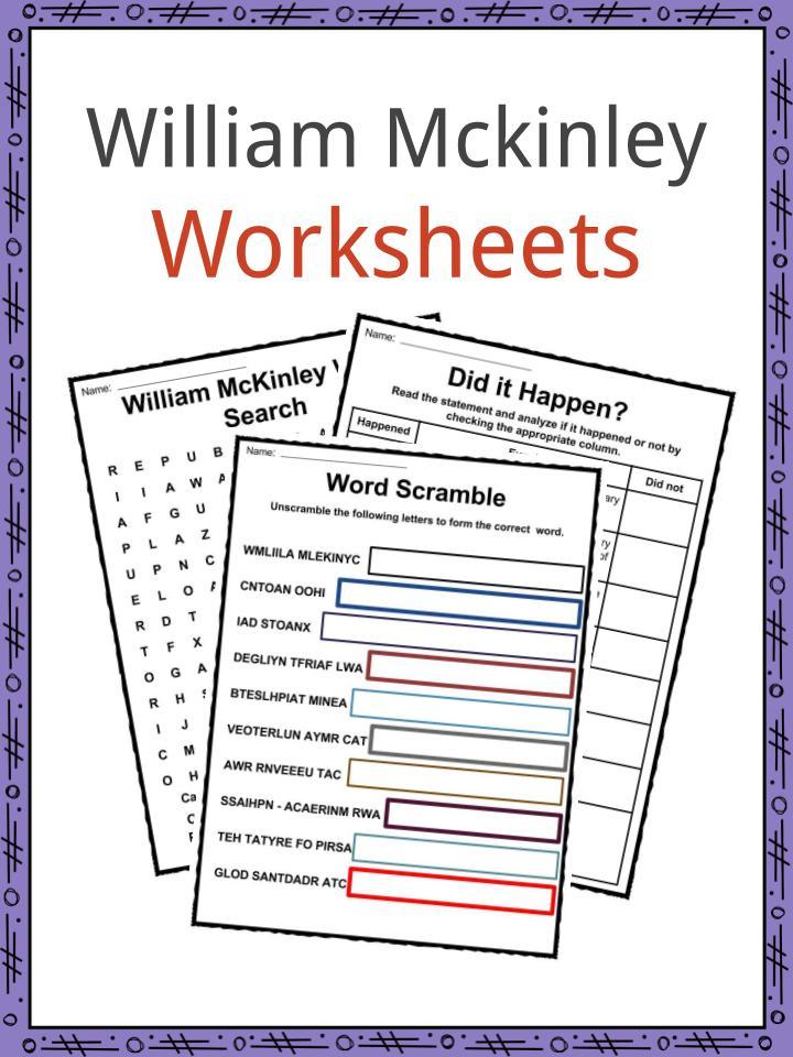 William McKinley Worksheets