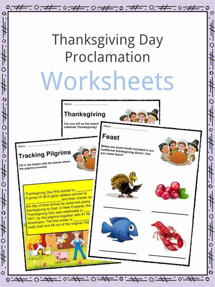 Thanksgiving Day Proclamation Worksheet