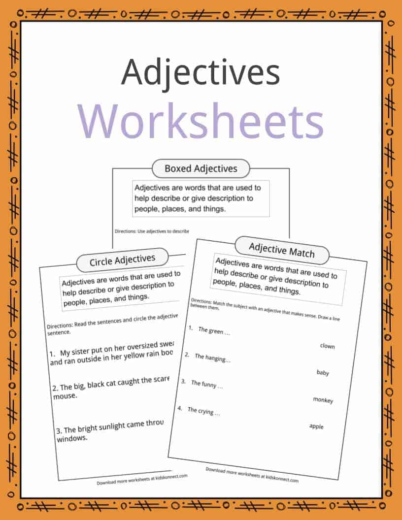 Adjectives Definition Worksheets Examples In Text For Kids
