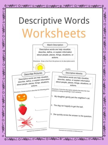 Descriptive Words Worksheets