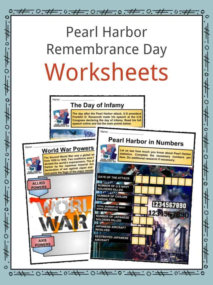 Pearl Harbor Remembrance Day Worksheets