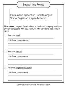 persuasive speech topic examples worksheets facts for kids the aim is to start a statement which you either do or don t agree and then use persuasive language to get other people to agree your point