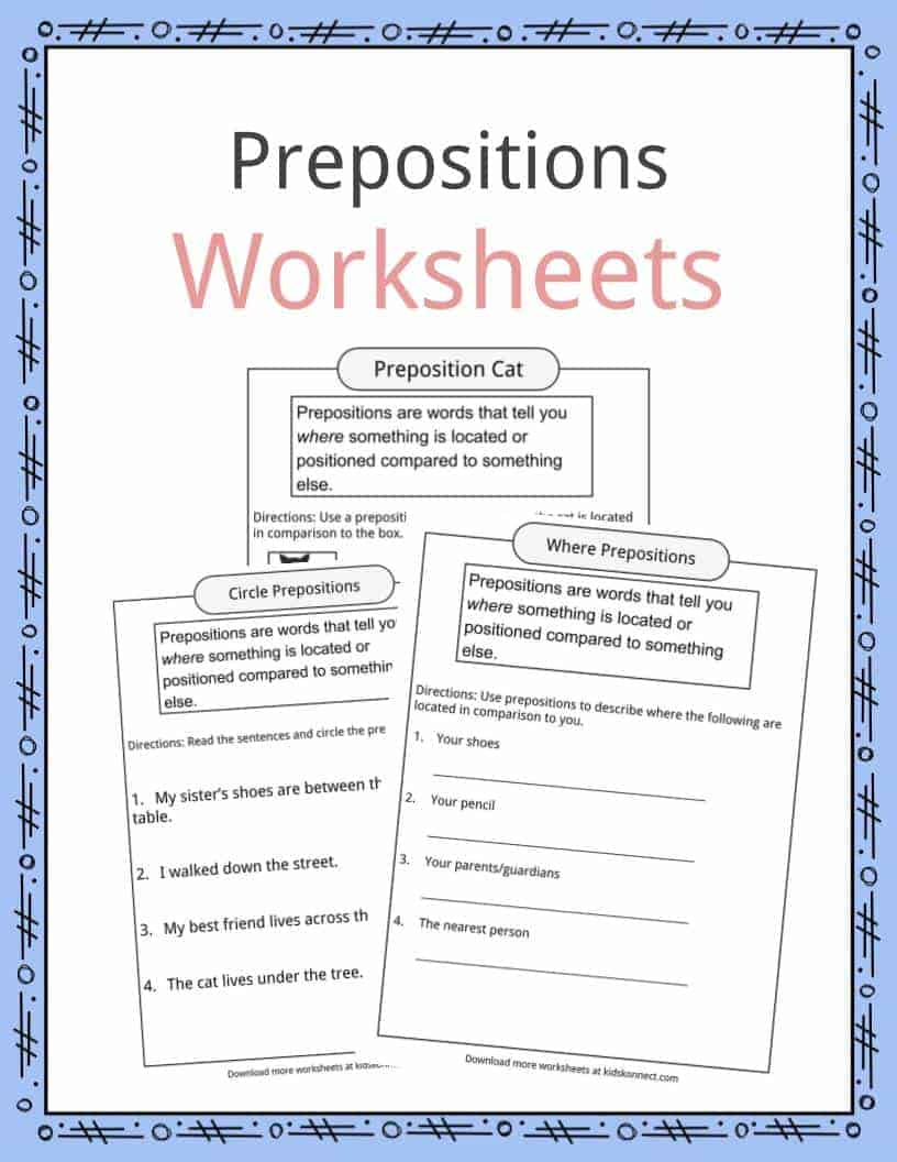 Prepositions Definition Worksheets Examples In Text For