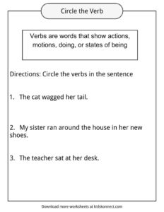 Verbs Definition, Worksheets & Examples In Text For Kids
