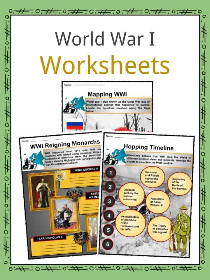 photograph relating to Free Printable World War 1 Worksheets titled International War I (WW1) Info, Worksheets, Heritage Written content