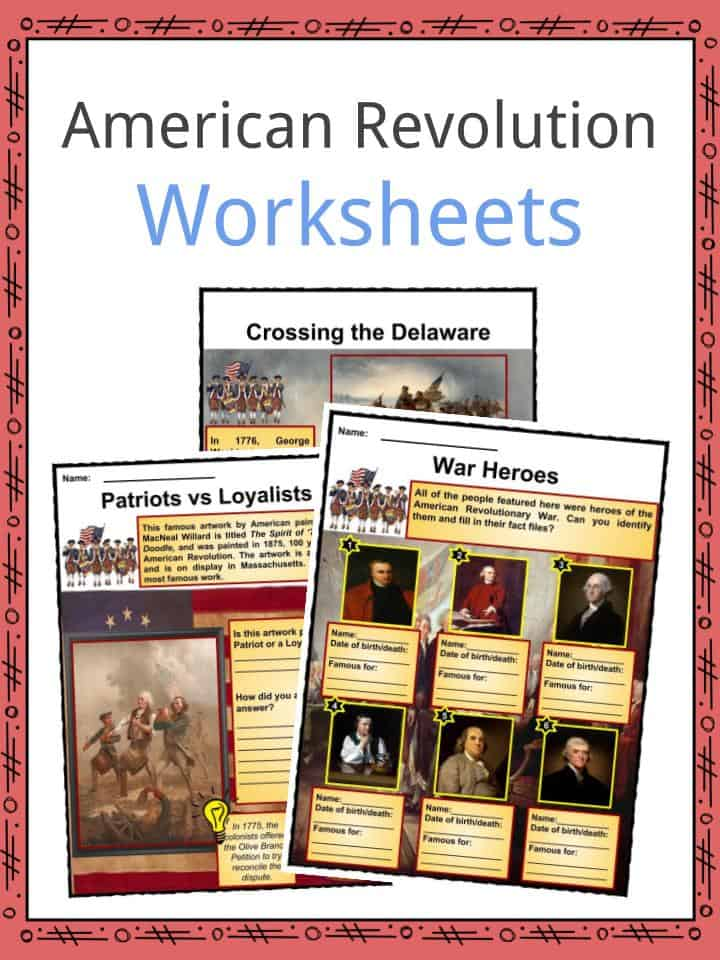 American Revolution Worksheets Facts Timeline Key Battles For Kids