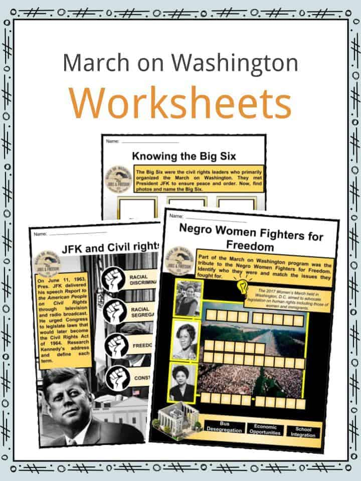 March on Washington Worksheets