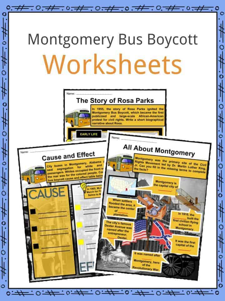 Montgomery Bus Boycott Worksheets