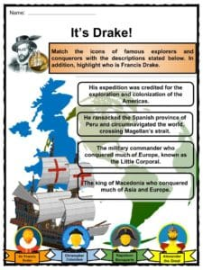 Sir francis drake facts worksheets history biography for Fun facts about drake