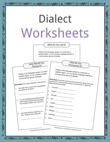 Dialect Worksheets