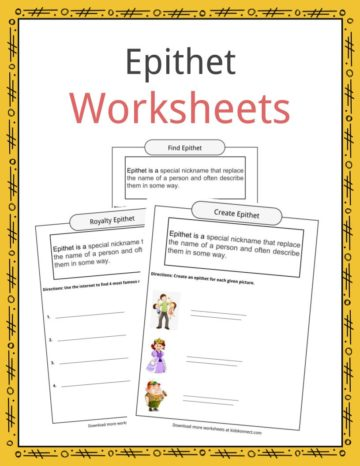 Epithet Worksheets
