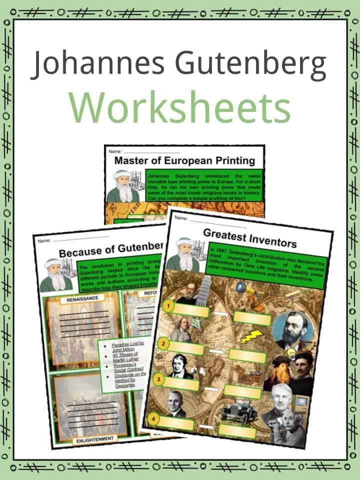 Johannes Gutenberg Worksheets