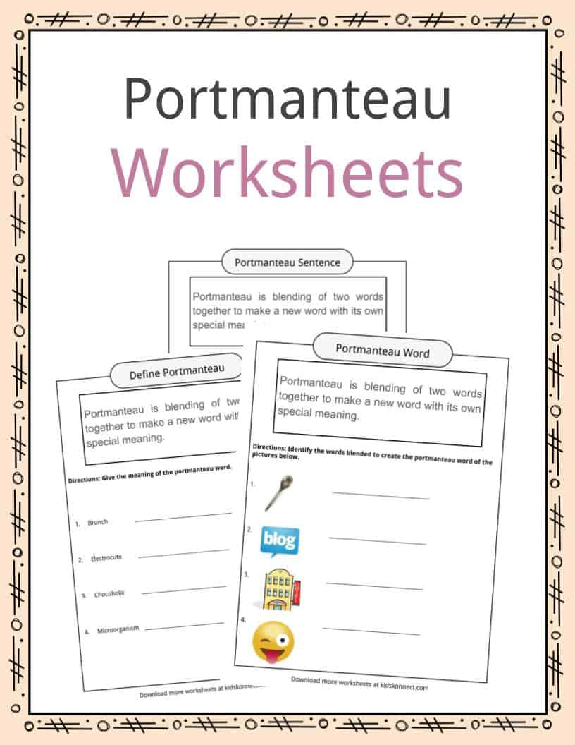 Portmanteau Worksheets Examples Definition For Kids
