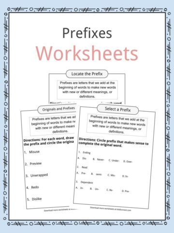 Prefixes Worksheets