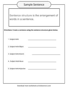 Sentence Structure Worksheets Examples Definition For Kids - View Sentence Building Worksheets For Kindergarten Pdf Background