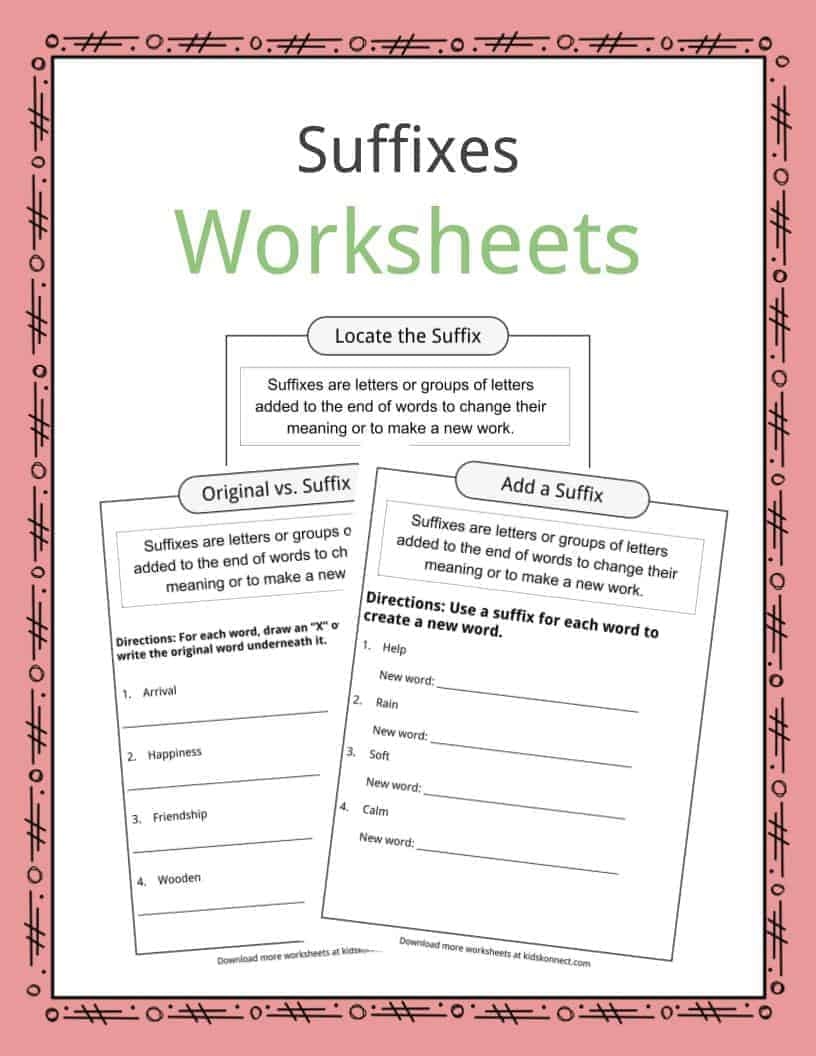 Workbooks suffix worksheets : Suffixes Worksheets, Examples & Definition For Kids